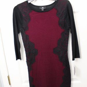 Burgandy & Black Lace Sweater Dress, NWT